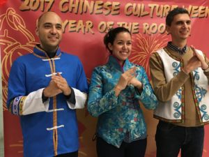 Trying on traditional clothes at Chinese Cultural Week