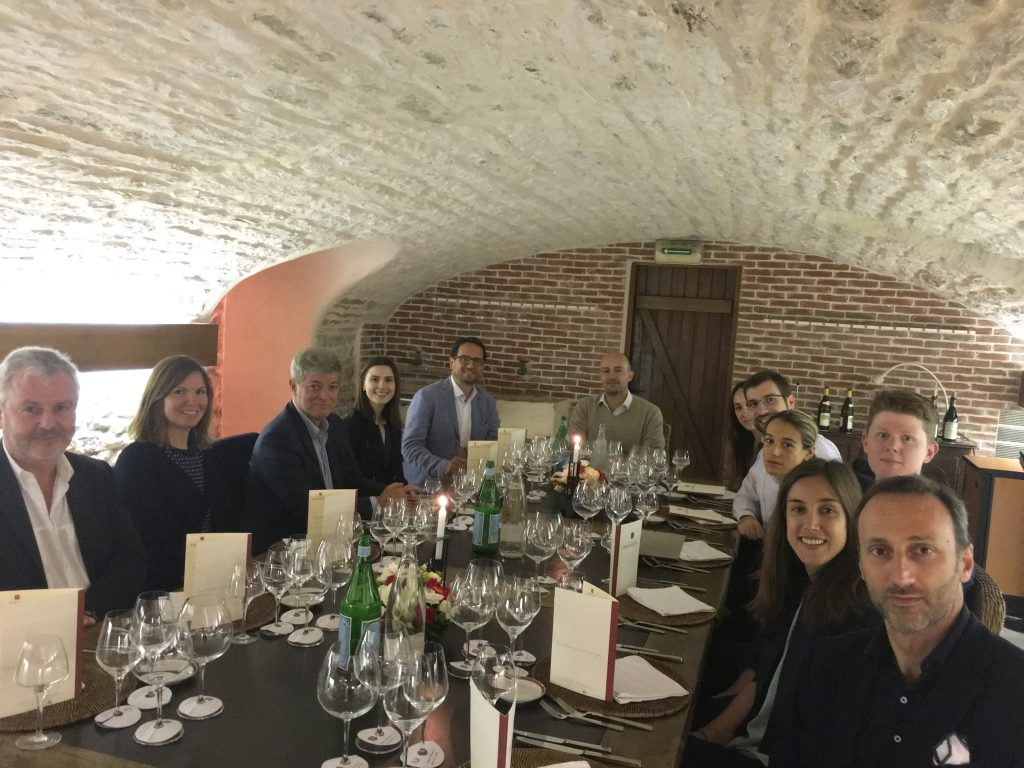 Enjoying lunch at Domaine Faiveley…