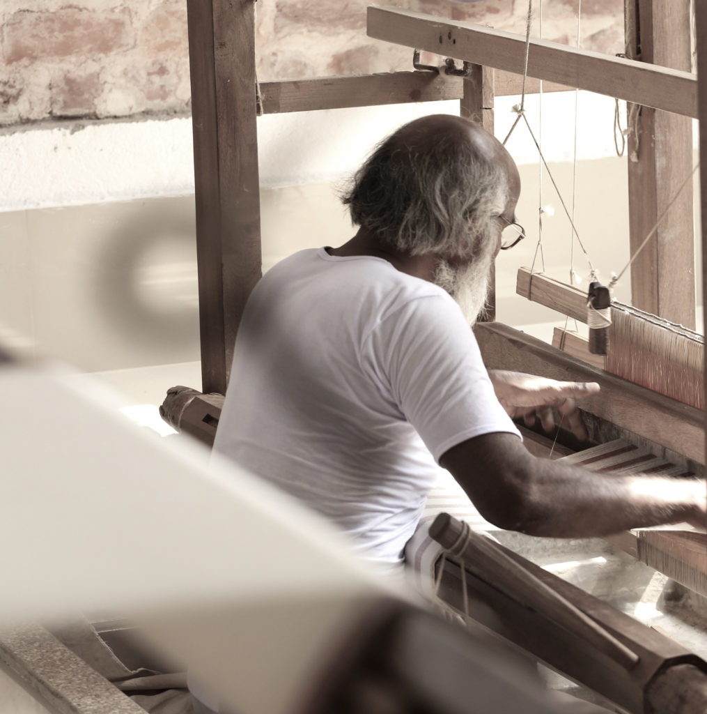 Naseem Ansari, one of the weavers at Gamchha, hard at work. His is part of a project to bring social change to India