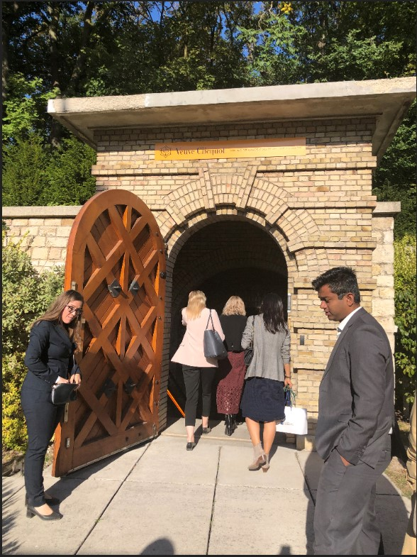 Entering the Veuve Clicqout cellars