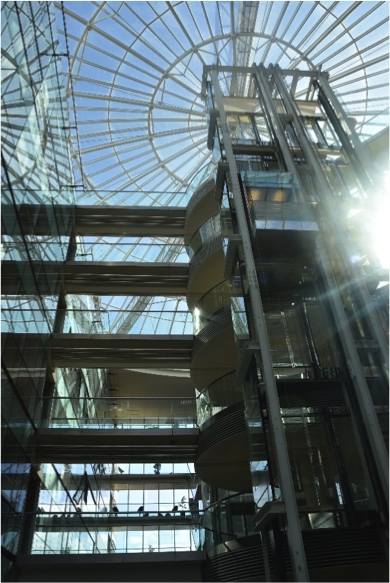 Inside the Alstom Paris Headquarters, looking up to the glass ceiling