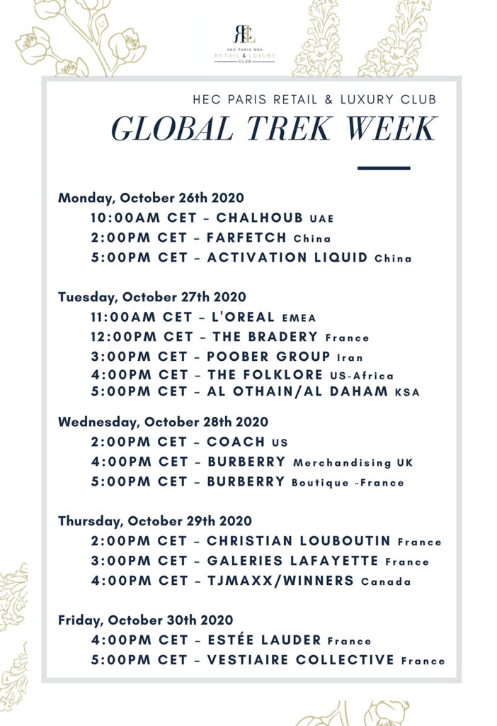 Networking Schedule of the Global trek week by the Retail and Luxury Club