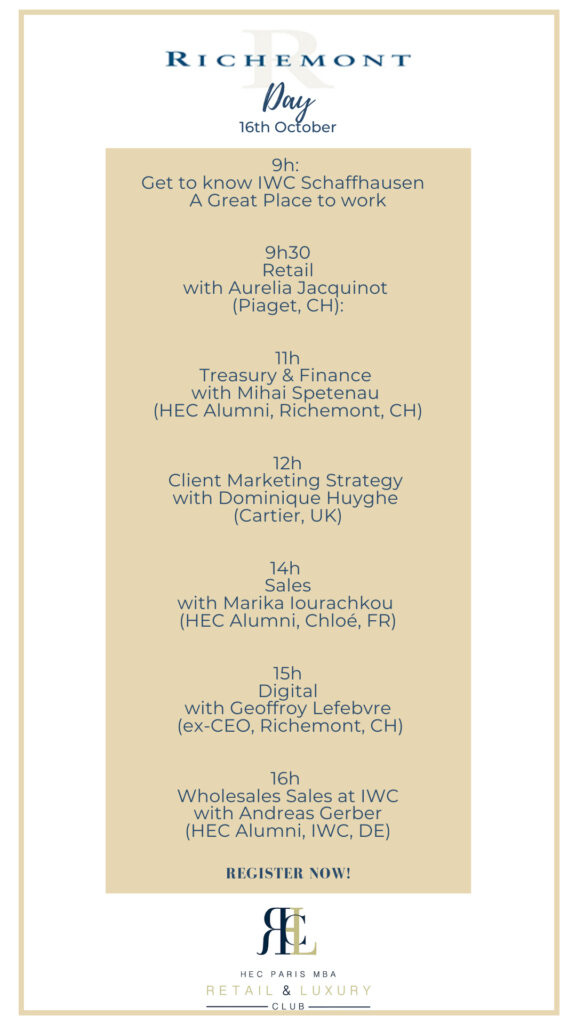 The flyer for Richemont Day at HEC Paris