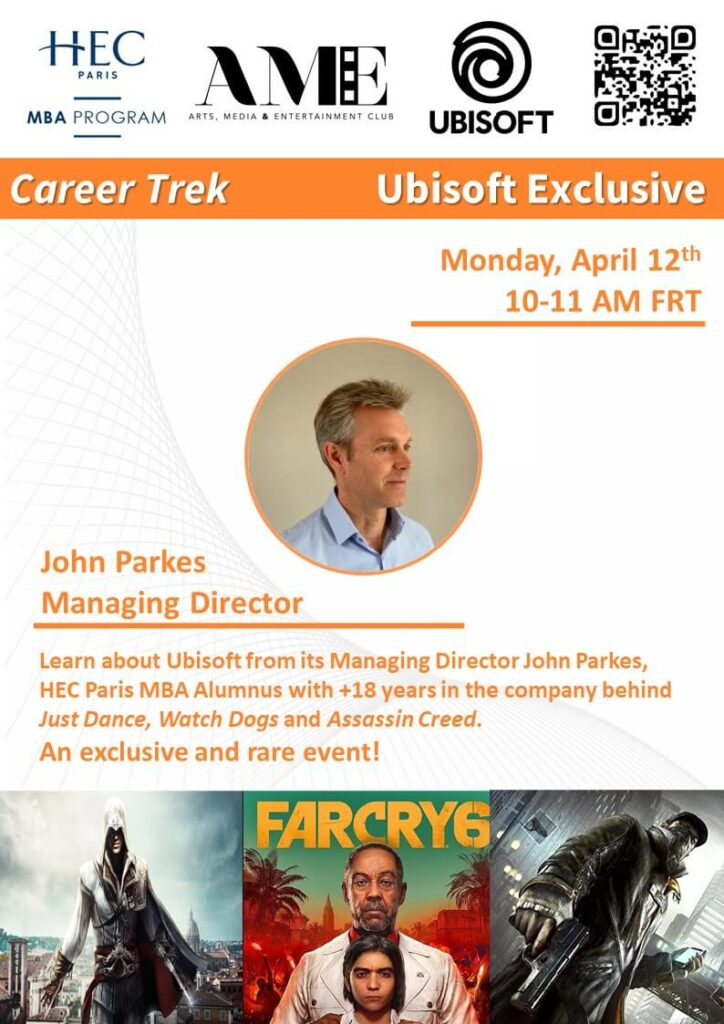 An upcoming event organized by the AME Club is with Ubisoft Managing Director, John Parkes