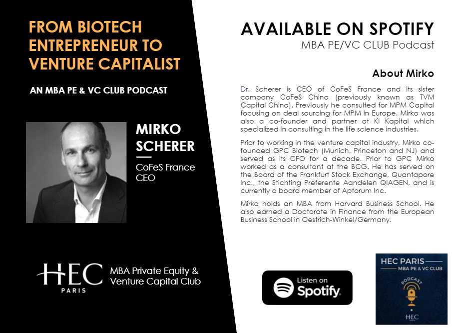 The PE/VC Club kicked off its new podcast series with an interview with Mirko Scherer.