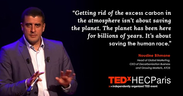 """""""Getting rid of the excess carbon in the atmosphere isn't about saving the planet. The planet has been here for billions of years. It's about saving the human race."""" --Noudine Bihmane"""