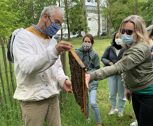Apiculturist Alain Bébon invites participants to feel the heat generated by the bees' movements