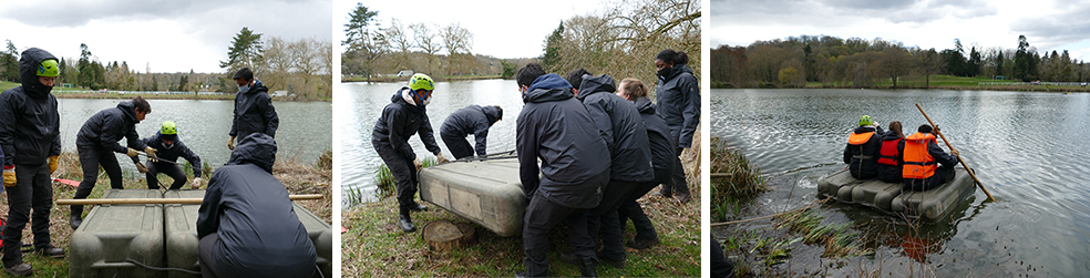 As part of the seminar's exercises, teams must work together to build a boat--then test its seaworthiness by sailing it across the HEC lake