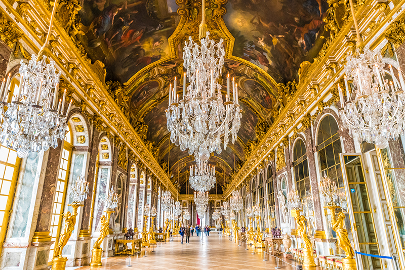 The Hall of Mirrors (Galerie des Glaces) in the Palace of Versailles