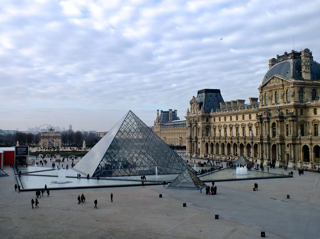 An outside view of the Louvre in Paris